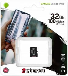 KINGSTON CANVAS SELECT PLUS MICRO SDHC 32GB CLASS 10 UHS-I U1 A1 V10 (100 MB/S)