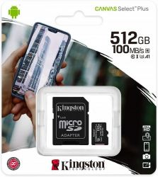 KINGSTON CANVAS SELECT PLUS MICRO SDXC 512GB + ADAPTER CLASS 10 UHS-I U3 A1 V30 (100/85 MB/S)