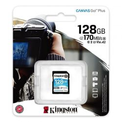 KINGSTON CANVAS GO PLUS SDXC 128GB CLASS 10 UHS-I U3 A2 V30 170/90 MB/S