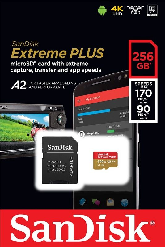 Sandisk EXTREME PLUS MICRO SDXC 256GB + ADAPTER CLASS 10 UHS-I U3 A1 V30 170/90 MB/S